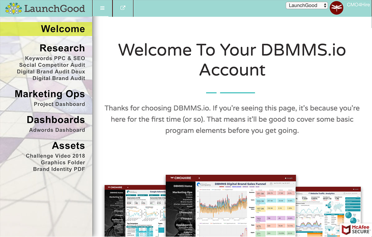 DBMMS for G Suite embedded in DBMMS SuiteMenu publish-to-the-web FeelGood non-profit dashboard