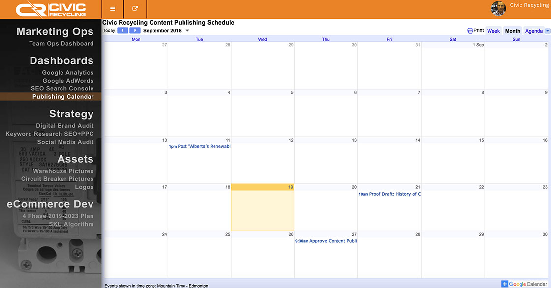 Google Calendar screen shot G Suite DBMMS SuiteMenu